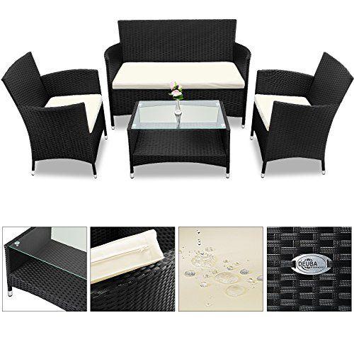 Salon De Jardin En 7 Pcs Polyrotin Salon D Entree Coussins Et Table En Verre Outdoor Furniture Sets Outdoor Furniture Furniture Sets