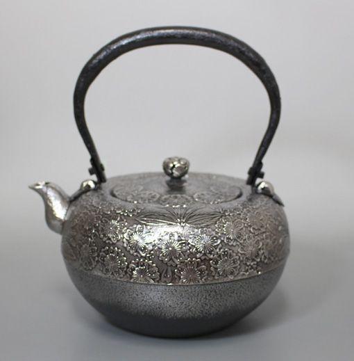 薫山工房 砂鉄鉄鉢型桜鉄瓶/Satetsu Teppachigata Sakura Tetsubin kettle by Kunzan
