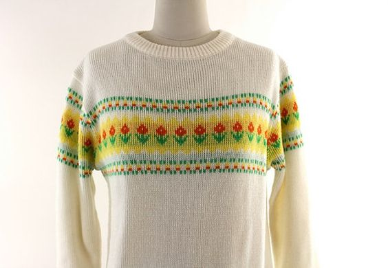 vintage 80s white flowered sweater S/M by AsburyHill on Etsy