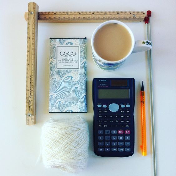 Essential tools for creating new hand knitting patterns- tea and chocolate (although the calculator and pencil are pretty important too!)