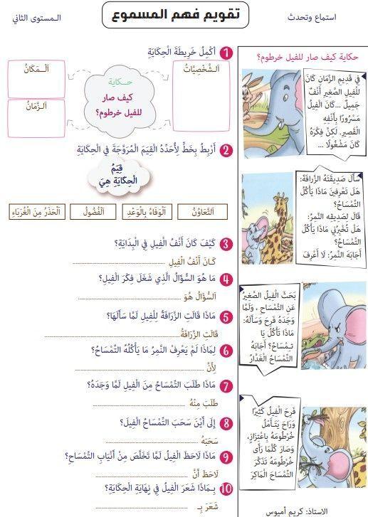 تقويم و تمارين حول فهم المسموع لحكاية كيف صار للفيل خرطوم Arabic Kids Arabic Alphabet For Kids Learning Arabic For Beginners