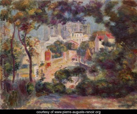 Landscape with a view of the Sacré-C?ur - Pierre Auguste Renoir - www.pierre-auguste-renoir.org