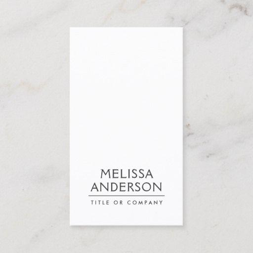 Modern White Minimalist Professional Business Card Zazzle Com Professional Business Cards Vertical Business Cards White Business Card Minimalist