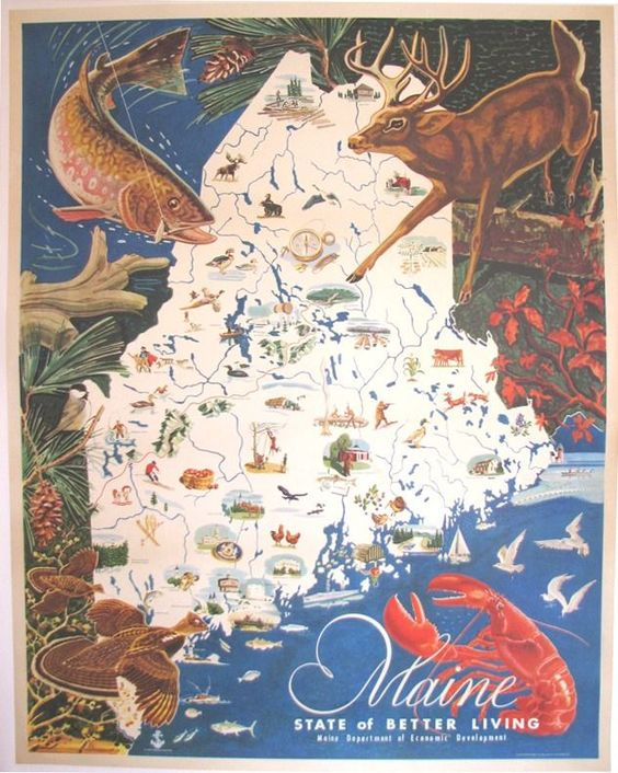 1950s Vintage Maine American Antique Travel Poster Map I bought – Maine Tourist Map