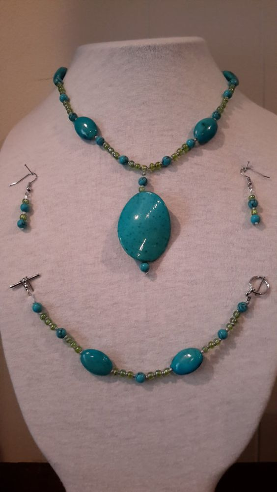 Check out this item in my Etsy shop https://www.etsy.com/listing/217173403/faux-turquoise-and-green-beads-jewelry