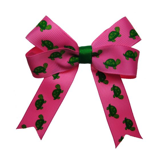 Pink and Green Turtle DZ Delta Zeta Hair Bow. $5.00, via Etsy.