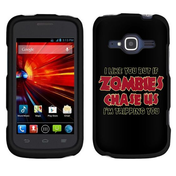 ZTE Concord 2 I Like U But If Zombies Chase Us Red on Black Case