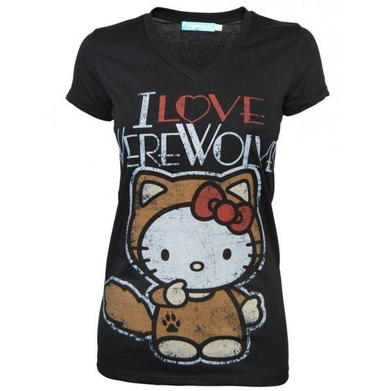 Mighty Fine Ladies I Love Werewolves T Shirt, Black ($21) found on Polyvore