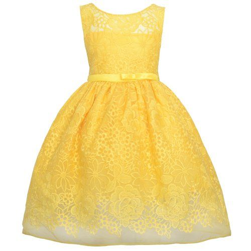 Sweet Kids Yellow Embroider Lace Overlay Easter Dress Little Girl ...