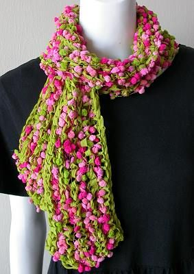 Knitting Pattern Ribbon Yarn Scarf : Popcorn + Deco-Ribbon Scarf - free knit scarf pattern from Crystal Palace Yar...
