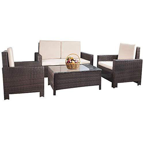 Patio Furniture Set 4pcs Outdoor Pe Rattan Wicker Sofa Garden