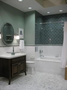 Do you like this for the walls?  I think you could still do a black and white floor and a pedestal sink