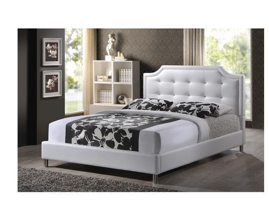 White Queen Platform Bed Leather Headboard Footboard Frame