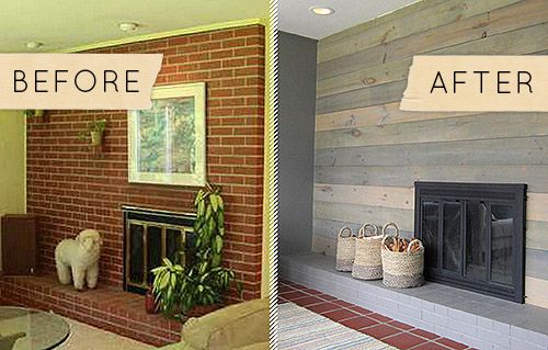 Before & After: A Kitschy Midcentury Fireplace Goes From Shabby to Chic - Design* Great idea if you have an dated ugly brick fireplace!