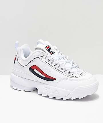 FILA Disruptor II Logo Taping White Shoes | White shoes