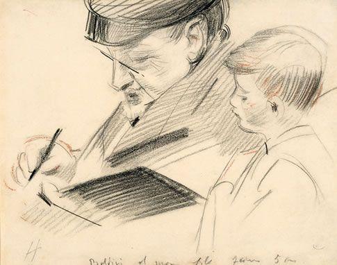 Boldini Dessinant avec Mon Fils Jean âgé de 5 ans ~ Paul César Helleu ~ (French: 1859-1927)