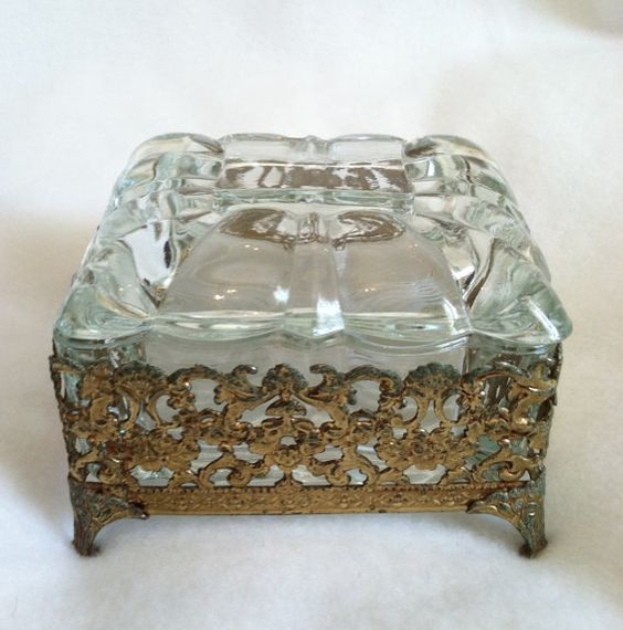 Ormolu Glass Vintage Jewelry Box by VintageJewelryZoo on Etsy, $24.00