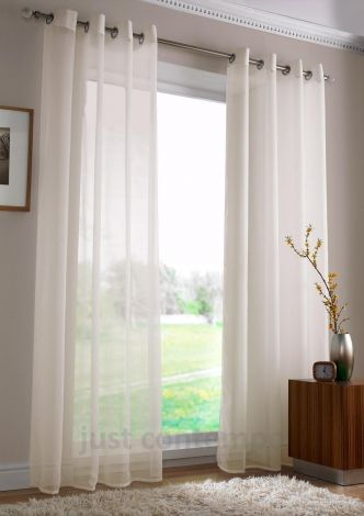 Eyelet Ring Top Ivory Cream Voile Net Curtain Panel | Front ...