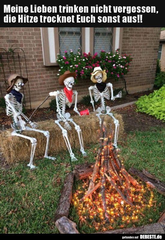 Meine Lieben Trinken Nicht Vergessen Die Hitze Trocknet Lustige Bilder Spruche Halloween Deko Vorgarten Halloween Dekoration Party Halloween Deko Ideen