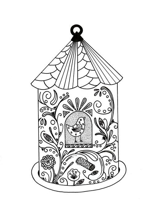 Whimsical Bird House Adult Coloring Page Coloring Pages Adult