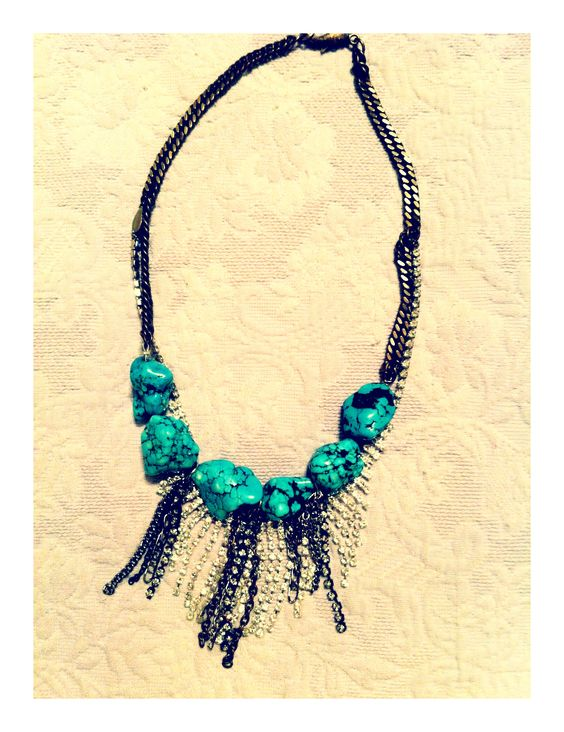 I've recently started making more of my own jewelry...this is one of my pieces. Vintage rhinestone necklace, turquoise beads, and mixed chains.