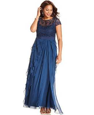 Adrianna Papell Plus Size Cap-Sleeve Lace Tiered Gown - Dresses - Plus Sizes - Macy's