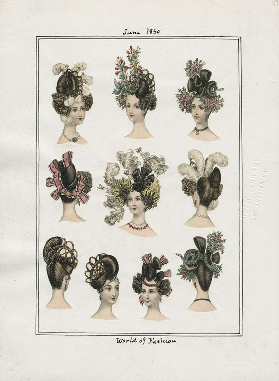 "1830 - Hairstyles from ""World of Fashion"" via Los Angeles Public Library 