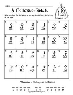 Riddles, Halloween and Addition and subtraction on Pinterest1St Grade Halloween Math, Fall Math First Grade, First Grade Halloween Projects, First Grade Pumpkin Math, Halloween Addition Worksheets, Halloween Riddle, ...
