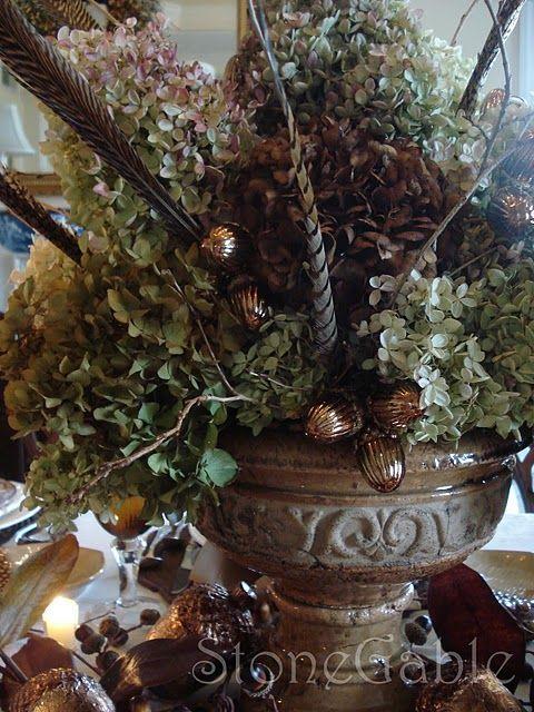 Dining room centerpiece hydrangea urn with pheasant