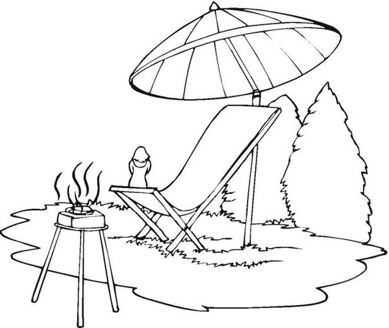 Lounge Chair Beach Umbrella Coloring Page Uss
