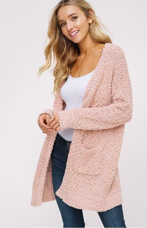 Fireside Knit Cardigan Dusty Rose | Long sweaters cardigan