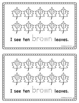 """Leaf Hunt"""" Fall Themed Emergent Reader (numbers 1-10 and colour ..."""