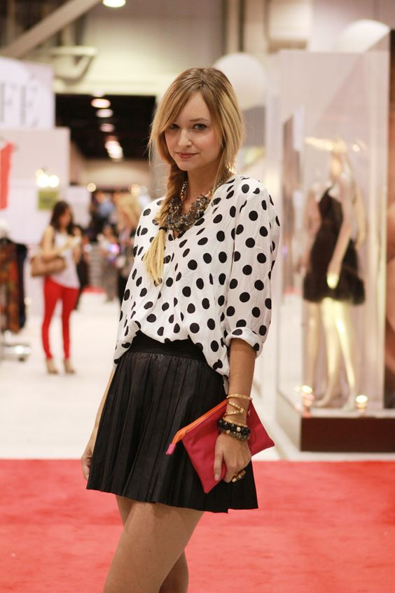 (top,shoes,skirt,bag- Zara, necklace-c/o Lauren Elan, bracelets- c/o besobeso, House of Harlow, ring- c/o besobeso): Dots Pleats, Polka Dots, Dots Combination, Cute Outfits, Dots Outfits, Fall Fashion, Dots Leather, Dotted Outfit