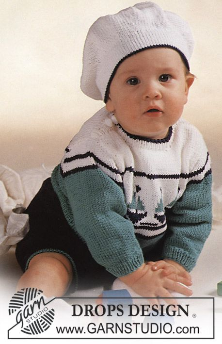 "DROPS jumper with boat motif, shorts and Basque hat in ""Safran"". Size 3-24 mos.:"