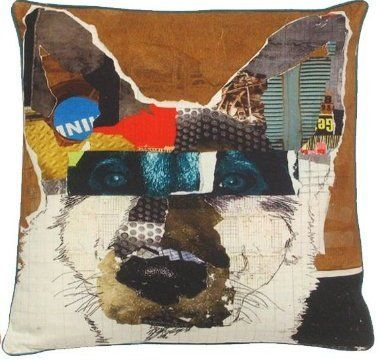 Hot Dog Pop Art Decorative Pillow Shepard Brown/Multi.  Printed cotton cover and insert.  Ready to guard your spot on the couch!  Cute!