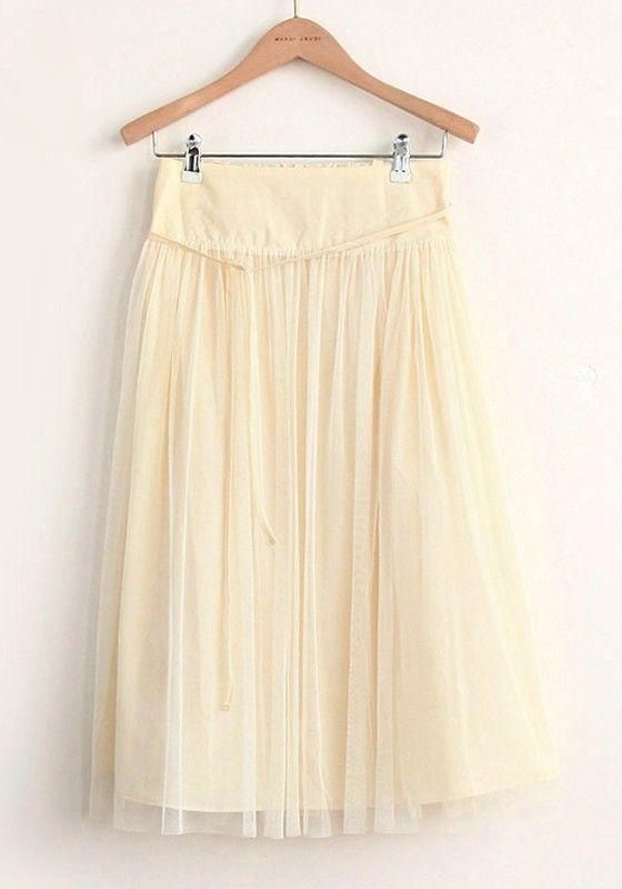 Khaki Elastic Waist Belt Below Knee Cotton Skirt