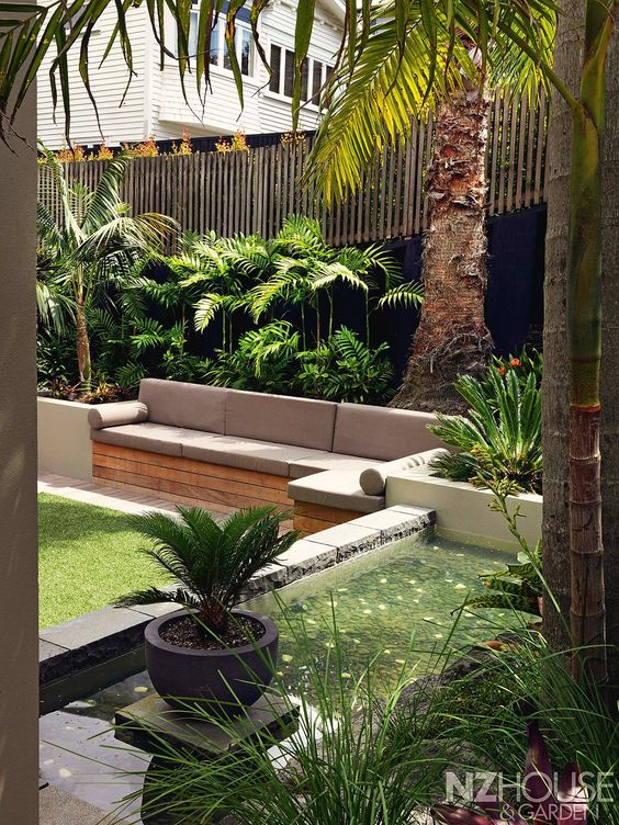 Home landscape design via christina khandan irvine for Tropical courtyard garden design