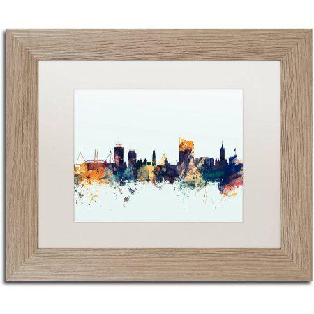 Trademark Fine Art 'Cardiff Wales Skyline Blue' Canvas Art by Michael Tompsett White Matte, Birch Frame, Size: 11 x 14