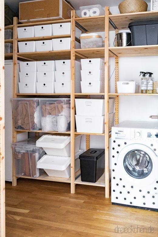 Ordnungssystem Mit Tipps Fur Aufbewahrung In Abstellraum Und Kuche Dreieckchen Abstellraum Hauswirtschaftsraum Ideen Speicherideen
