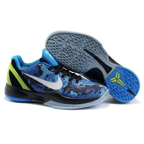 Popular Nike Zoom Kobe 6 VI Men Camo Blue/White-Black-Emerald Basketball