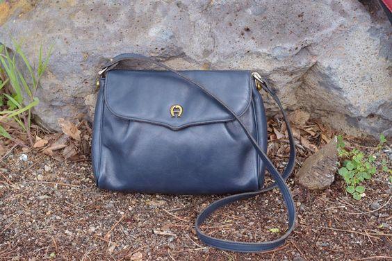 Vintage Bag / Navy Blue Leather Purse / 1970s Etienne Aigner Designer Bag Tote