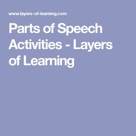 Parts of Speech Activities - Layers of Learning