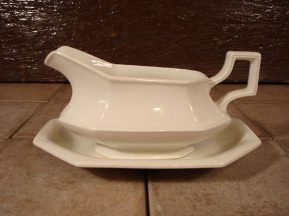 White ironstone sauce dish or gravy dish with underplate- Johnson Brothers, Heritage white, England, great condition; solid and beautiful by HeathersCollectibles on Etsy
