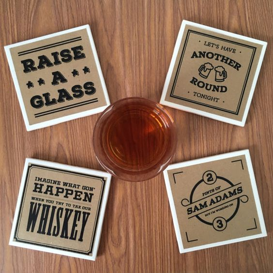 Grind to the rhythm as you wine and dine guests with this set of Hamilton-inspired coasters. This set is perfect for the bar or home  #Ham4Ham #HamiltonBroadway #Coasters: