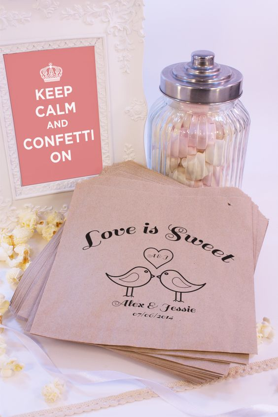Personalised Sweet Bags LOVE BIRDS KISS Candy Cart Wedding Favours Confetti Enga | eBay