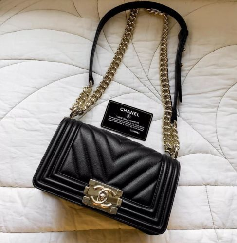 Chanel Chevron Small Boy Bag Calfskin