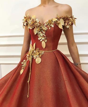 تفاصيل احمر اللباس اللون شبكه فواره صافي النسيج اليدوية المطرزة الذهب الملونة الزهور البرية وحزام خارج الكتفين الكر Ball Dresses Elegant Dresses Pretty Dresses
