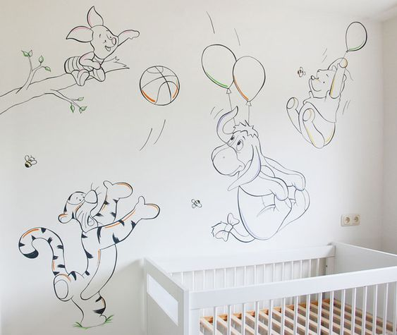 Muurtekening Winnie the Pooh met Teigetje, Knorretje en Iejoor. Babykamer ontwerp voor ouders die basketbal spelen. Gemaakt door BIM Muurschildering.