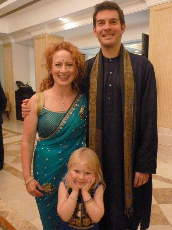 Catriona, Steve and Katie all dolled up for the Sangeet.