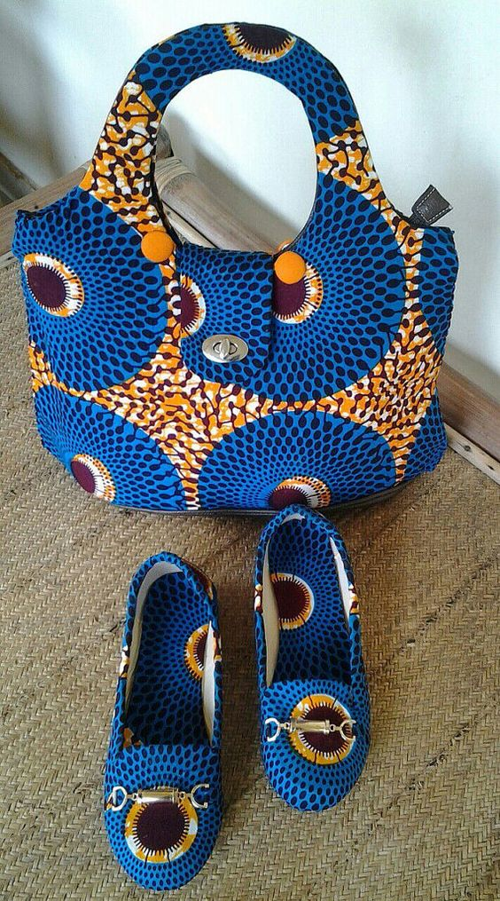AFRICAN PRINT shoes and purse and accessories by EJAfricanProducts: